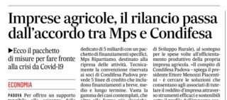 Condifesa Padova e Banca MPS ecco la convenzione per le imprese agricole